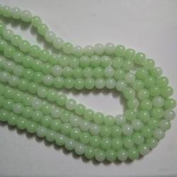 Dual Shade Glass Bead 8 mm Pale Green & White