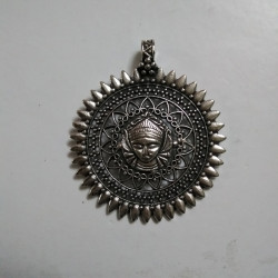 German Silver Durga Round Pendant